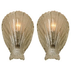 Pair of Murano Hand Blown Clear Glass Sea Shell Sconces, Italy, 1960
