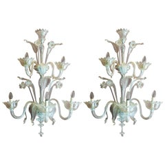 Mid Century Modern Murano Blown Transparent Glass Leaf and Flower Wall Sconces