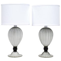 "Pair of Murano ""Incamiciato"" Gray Glass Table Lamps"