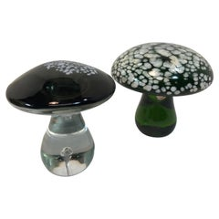 Pair of Murano Italian Art Glass Mushroom Paperweight Sculpture