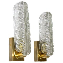 Pair of Murano Italian Clear Textured Leaf Wall Sconces