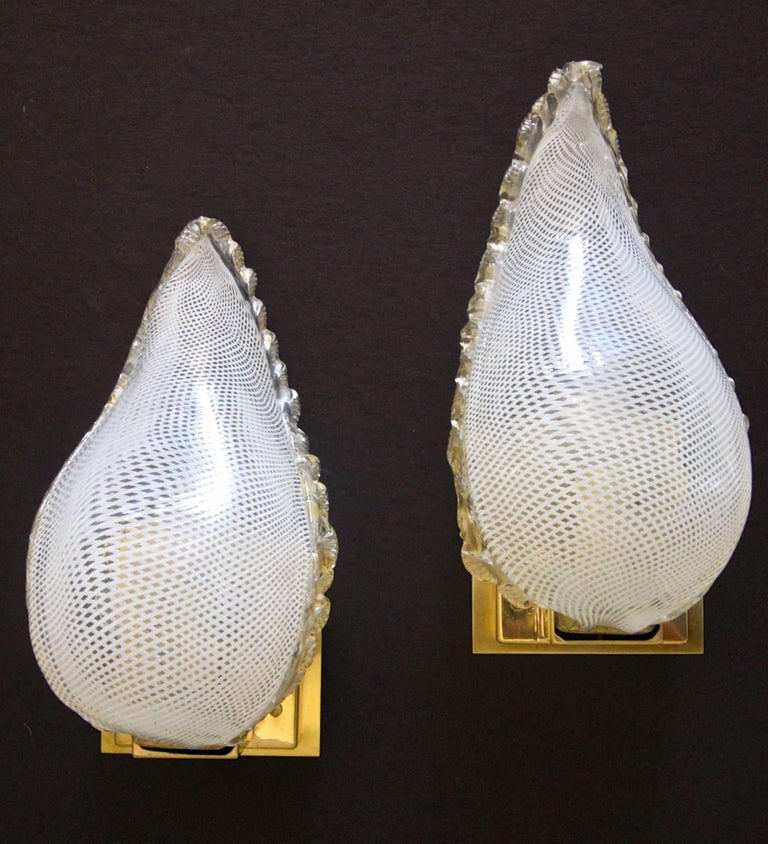 Pair Of Simple Church Lights For Sale: Pair Of Murano Latticino Leaf Form Wall Sconce Lights For