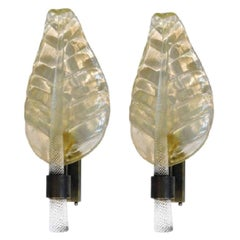 Pair of Murano Leaf Shaped Sconces, 1980s