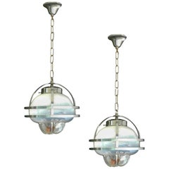 Pair of Murano Mazzega Pendant Lights Midcentury Chrome Glass