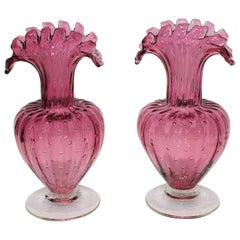 Pair of Murano Midcentury Raspberry Buccilante Ruffle Vases