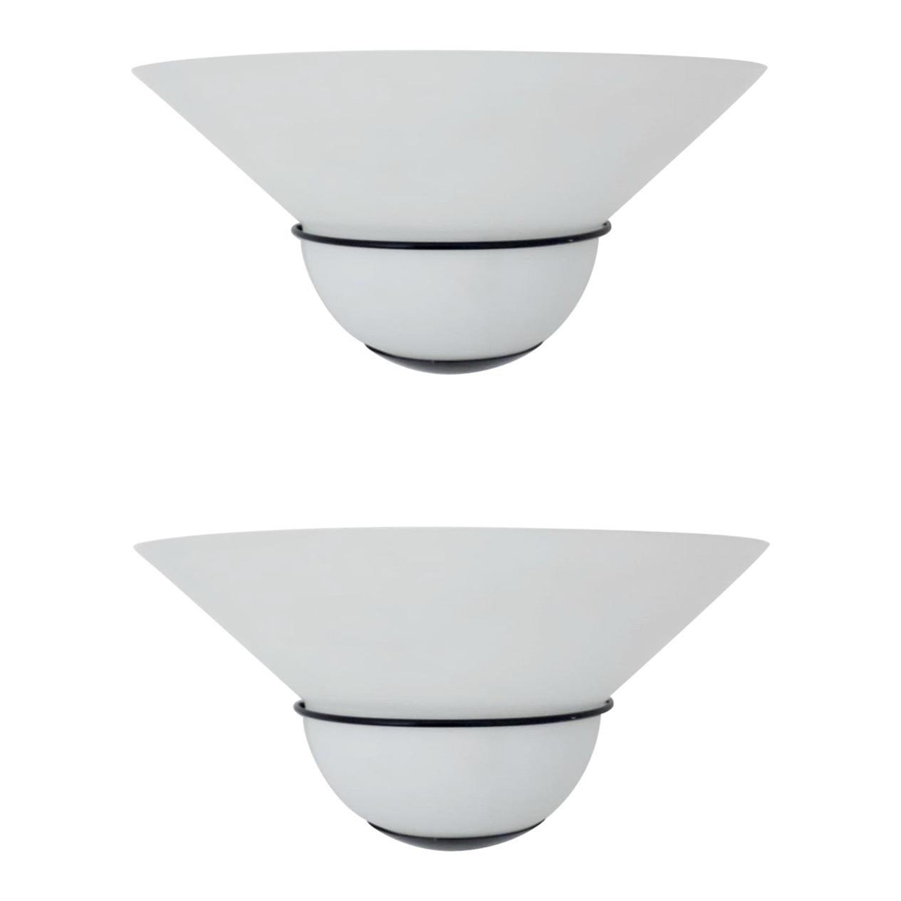 Pair of Murano Milky White Sconces