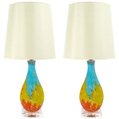 Pair of Murano Multi-Color Table Lamps