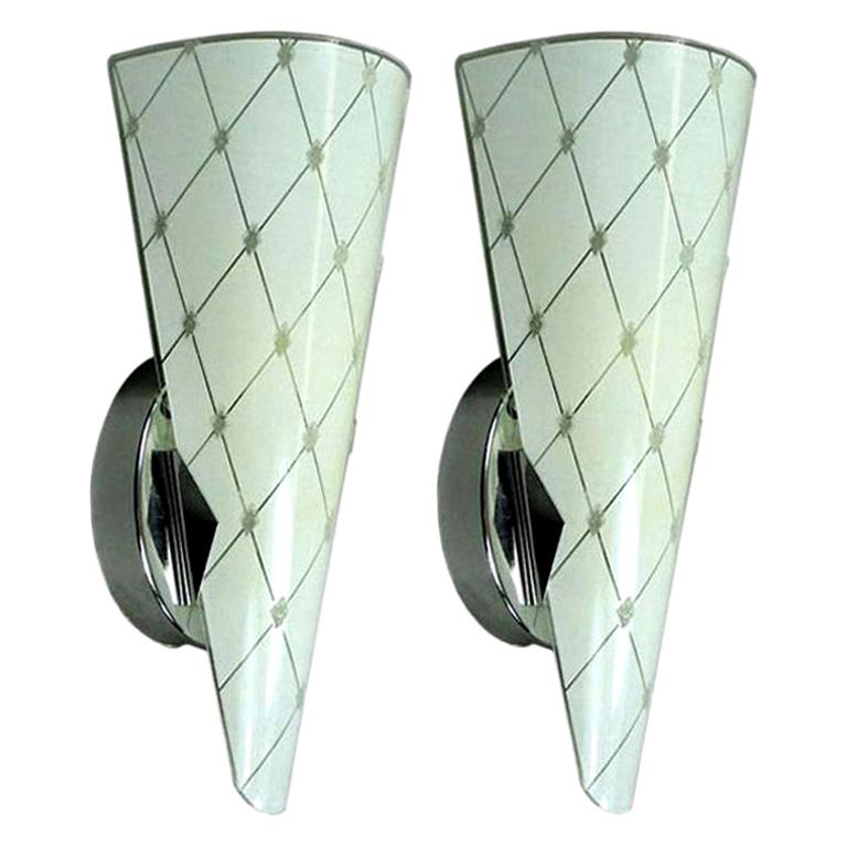Pair of Murano Mid Century  Glass Sconces For Sale