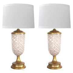 Pair of Murano Pink and White Lattacino Lamps by Dino Martens for Aureliano Toso