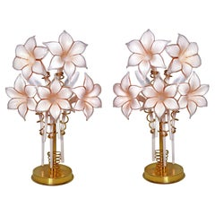 Pair of Murano Pink Lilly Sculptural Table Lamps Franco Luce Artglass Gilt Brass