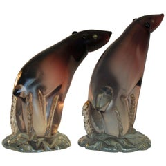 Pair of Murano Polar Bears by Alfredo Barbini, 1940-1950, Italy