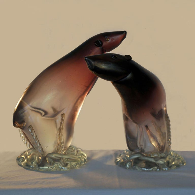 Mid-Century Modern Pair of Murano Polar Bears by Alfredo Barbini, 1940-1950, Italy For Sale