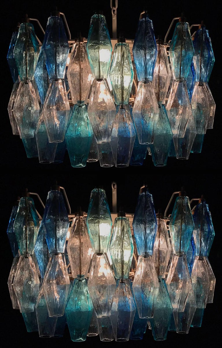Pair of Murano Poliedri Chandelier in the Style of Carlo Scarpa For Sale 4