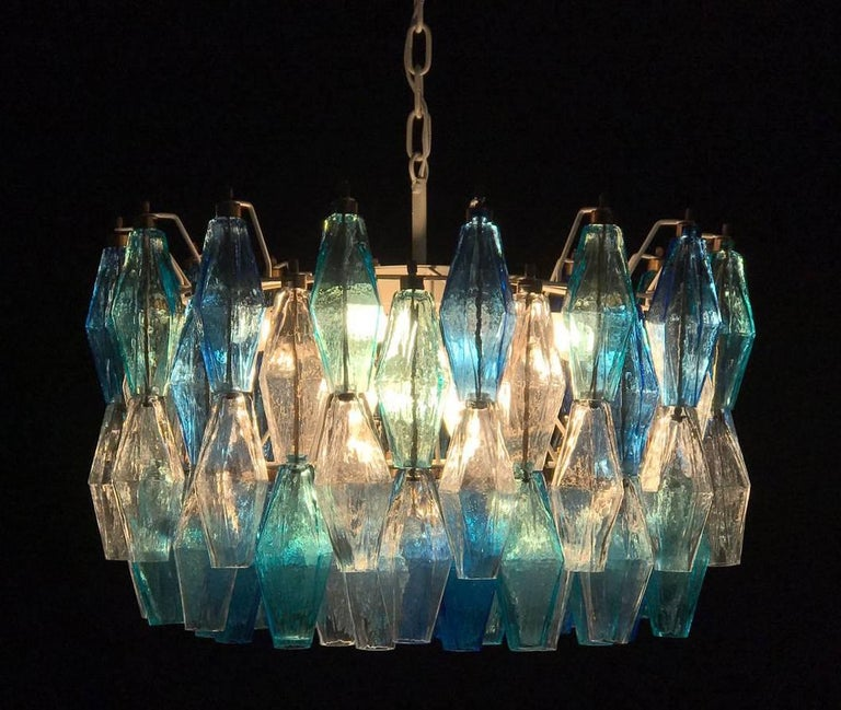 Late 20th Century Pair of Murano Poliedri Chandelier in the Style of Carlo Scarpa For Sale