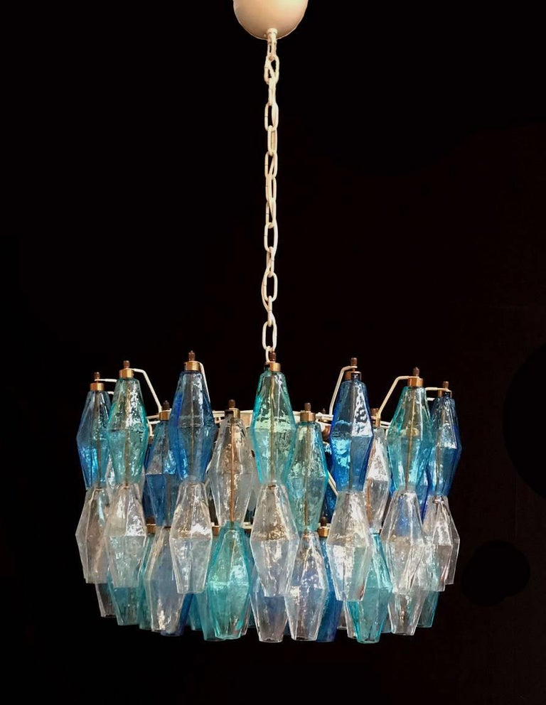 Pair of Murano Poliedri Chandelier in the Style of Carlo Scarpa For Sale 1