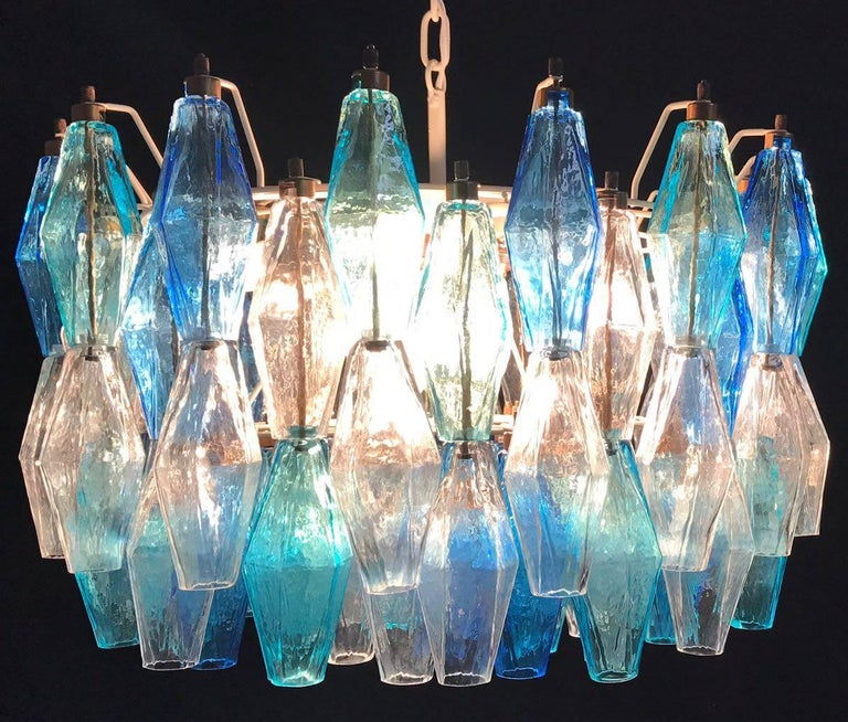 Pair of Murano Poliedri Chandelier in the Style of Carlo Scarpa For Sale 2