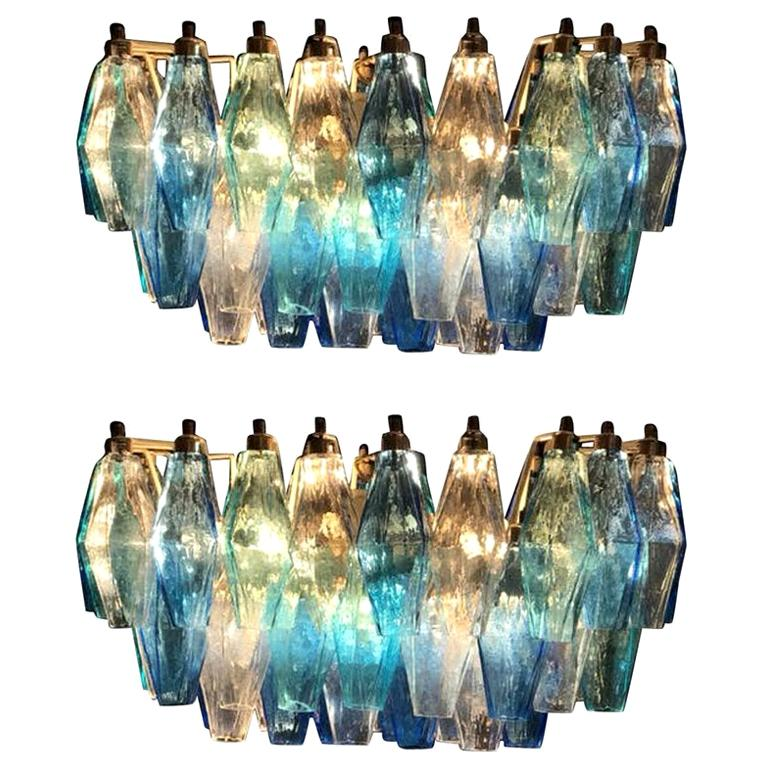 Pair of Murano Poliedri Chandelier in the Style of Carlo Scarpa For Sale