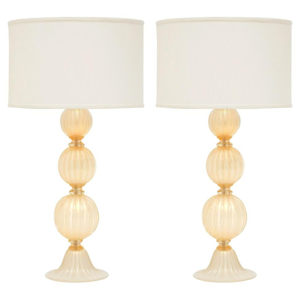 """Pair of Murano """"Polvera d'oro"""" Glass Table Lamps"""