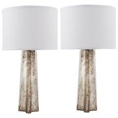 "Pair of Murano ""Pulegoso"" Mercury Glass Table Lamps"