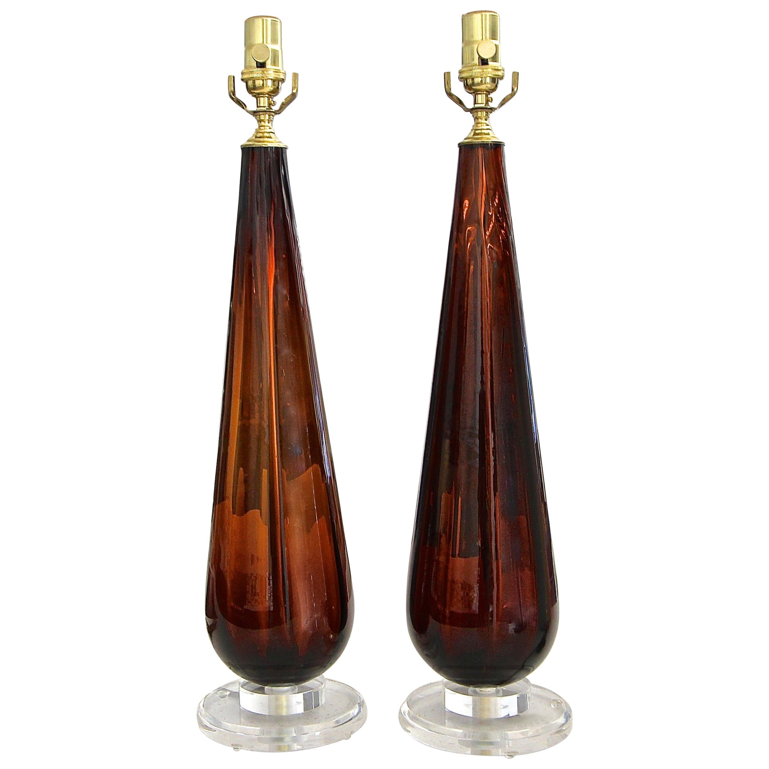 """Pair of Murano """"Root Beer"""" Tear Drop Glass Table Lamps"""