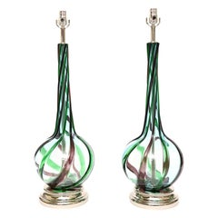 Pair of Murano Seguso Glass Lamps Vintage