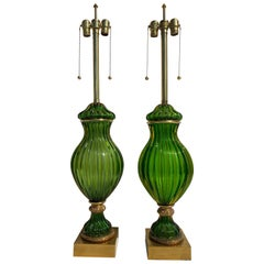 Pair of Murano Seguso Green Glass Lamp for Marbro