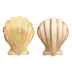 Pair of Murano Shell Door Handles by Barovier and Toso