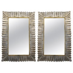 Pair of Murano Silver Glass Framed Mirror