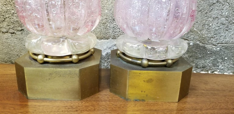 Hand-Crafted Pair of Murano Silver Leaf Hand Blown Pink Bubble Glass Table Lamps For Sale