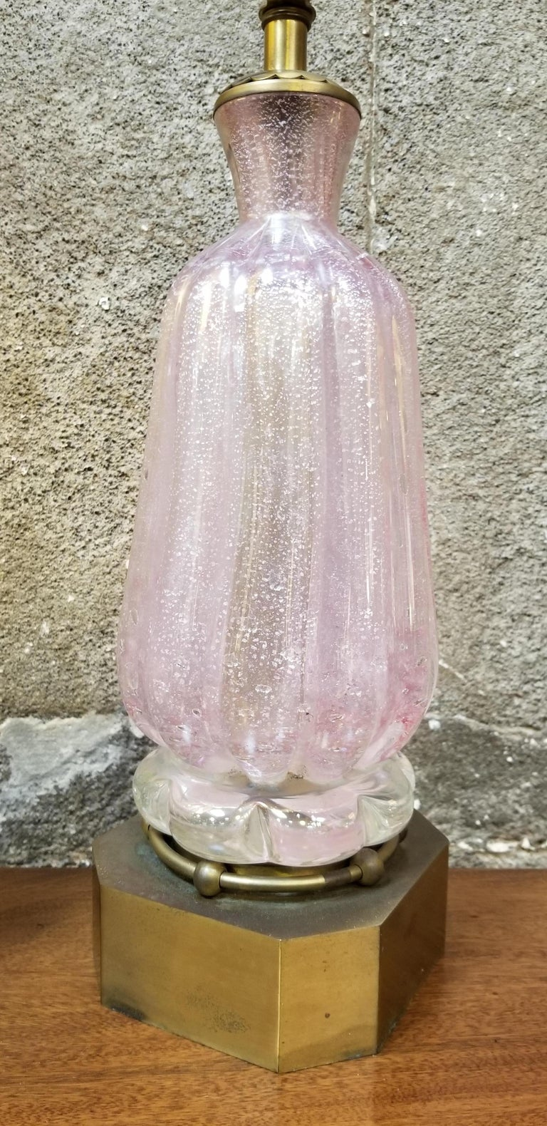 Pair of Murano Silver Leaf Hand Blown Pink Bubble Glass Table Lamps 7