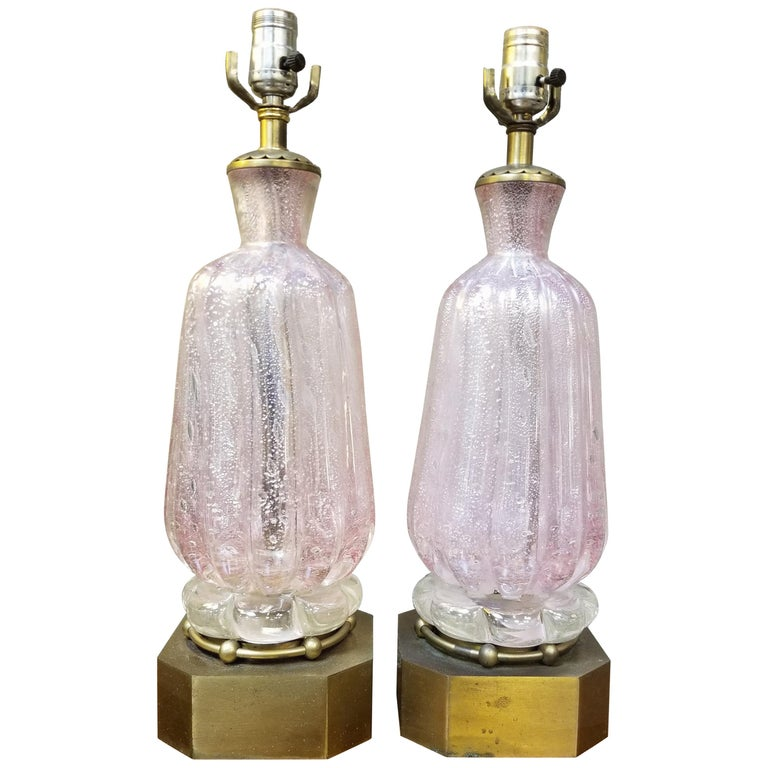 Pair of Murano Silver Leaf Hand Blown Pink Bubble Glass Table Lamps 1