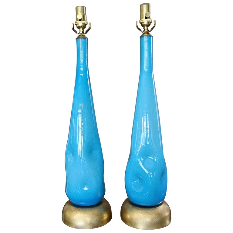 Pair Murano Blue Glass Table Lamps For Sale