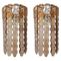 Pair of Murano Brown Glass Sconces, Mazzega Style, Mid-Century Modern Italy 1970