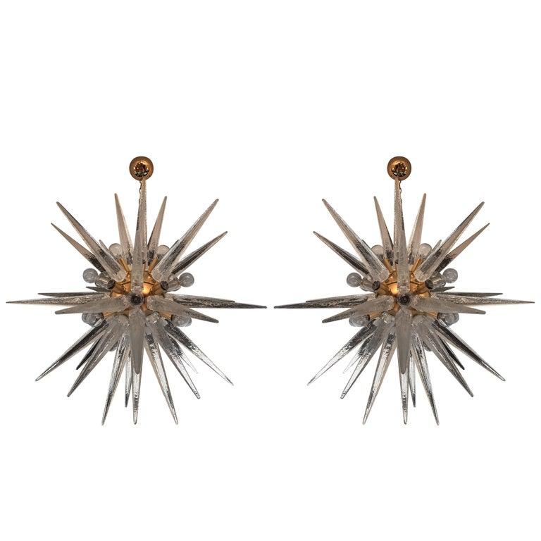 Pair of Venetian Glass Snowflake Chandeliers, 1970