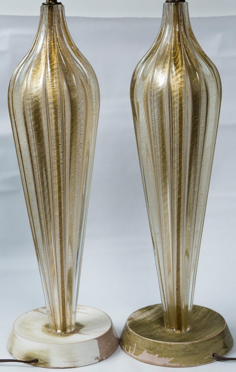 Pair of Murano Style Glass Table Lamps For Sale 3