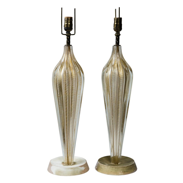 Pair of Murano Style Glass Table Lamps For Sale