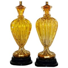 Gold and Yellow Murano Glass Table Lamps