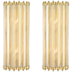 Pair of Murano Torsado Glass and Brass Wall Sconces