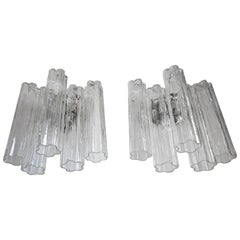 Pair of Murano Tronchi Glass Tube Wall Sconces