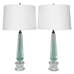 Pair of Murano Turquoise Swirl Glass Table Lamps