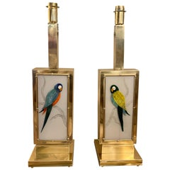 Pair of Murano Two Sided Glass Parrots Table Lamps, 1970s