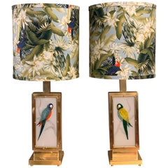 Pair of Murano Two-Sided Glass Parrots Table Lamps with Jungle Fabric, 1970s