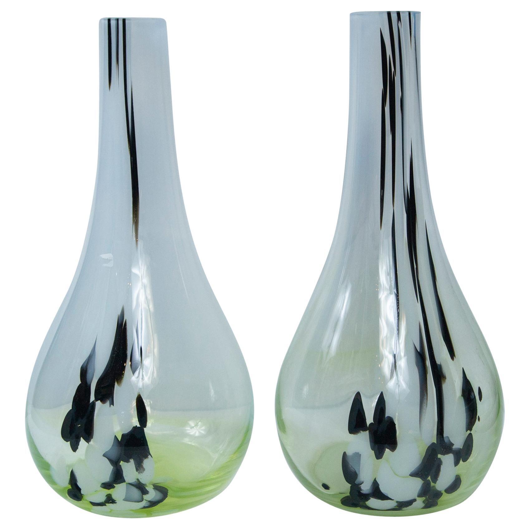 Pair of Murano Type Tall Neck Vases