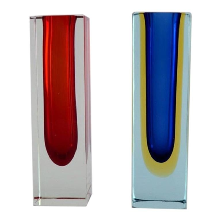 Pair of Murano Vases in Clear, Red and Blue Mouth Blown Art Glass