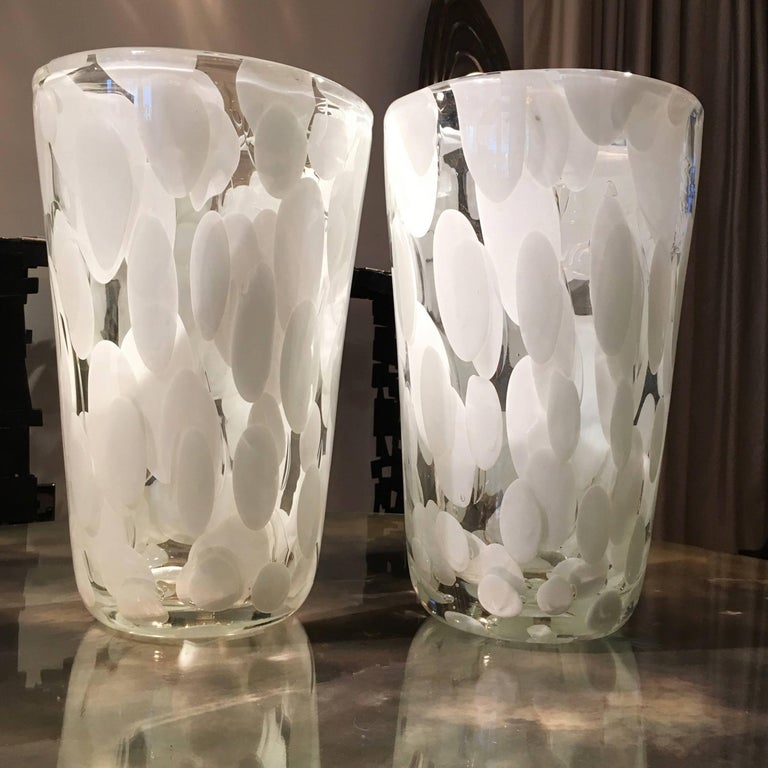 Pair Of Murano Vases With White And Gold Detail At 1stdibs