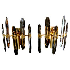 Pair of Murano Wall Sconces in Polished Crystal Glass Mazzega, Venice, 1970