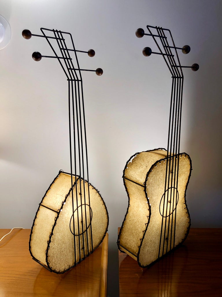 Mid-20th Century Pair of Musical Instrument Lamps by Frederick Weinberg For Sale