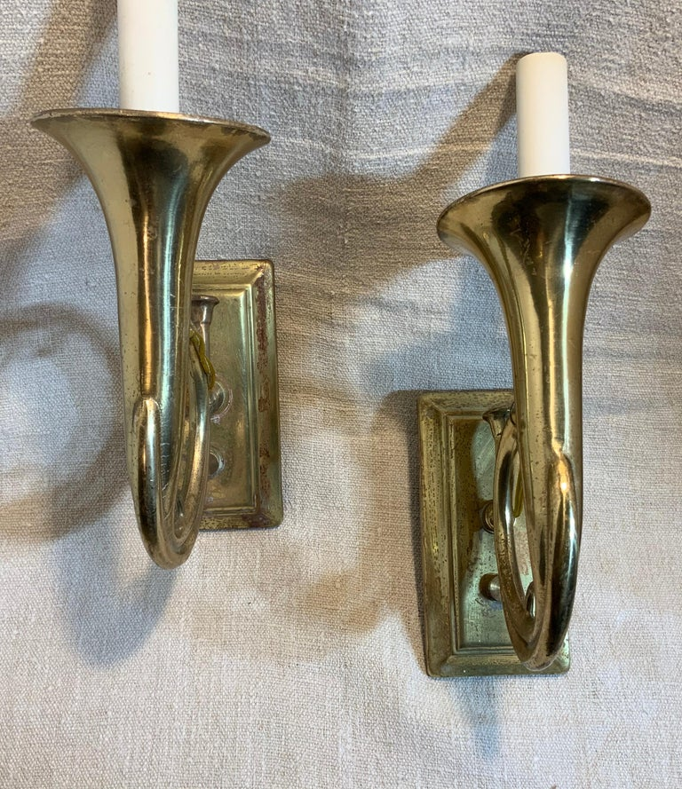 Pair of Musical Trumpet Like Brass Wall Sconces For Sale 5