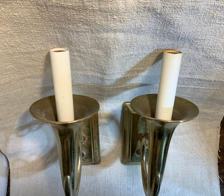 Pair of Musical Trumpet Like Brass Wall Sconces For Sale 6