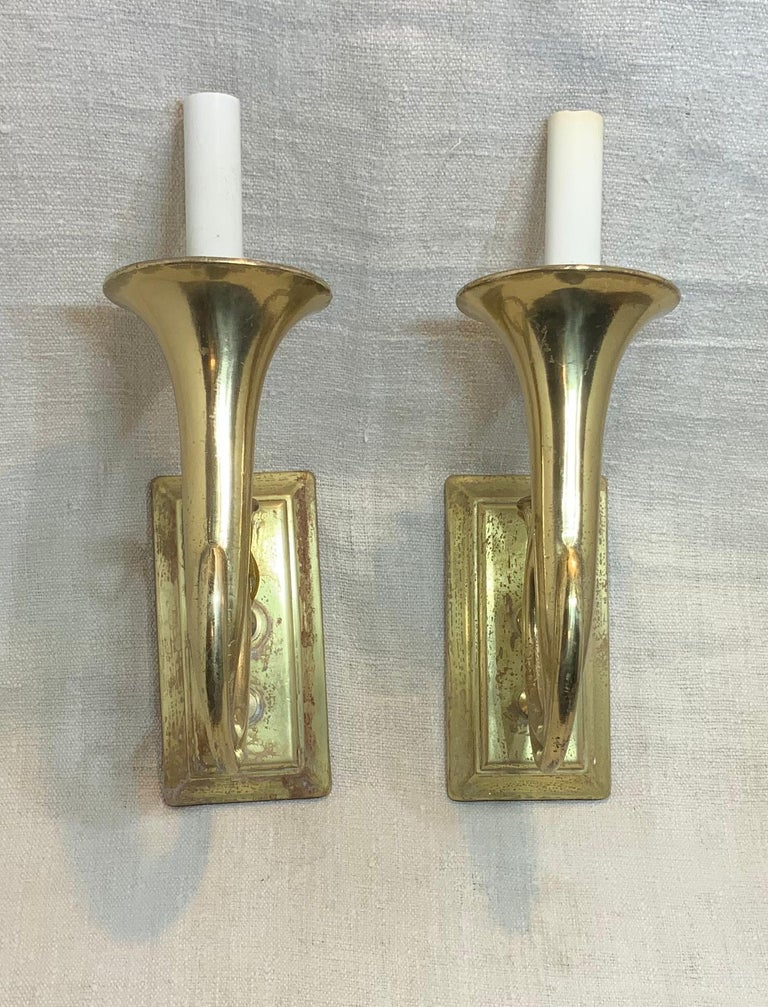 Pair of Musical Trumpet Like Brass Wall Sconces For Sale 7